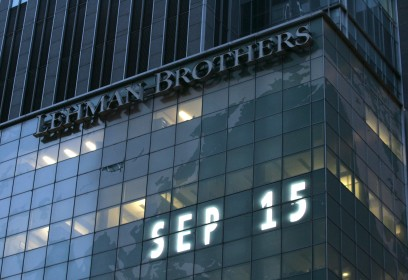 FILE - In this Sept. 15, 2008 file photo, Lehman Brothers world headquarters is shown in New York, the day the 158-year-old investment bank, choked by the credit crisis and falling real estate values, filed for bankruptcy. After weeks of intense focus on the crisis in Syria, the White House is set to use the five-year anniversary of the Lehman Bros. collapse next week to lay claim to an economic turnaround and to press congressional Republicans to not use the threat of a shutdown or a unprecedented debt default to extract a delay of President Barack Obama's signature health care. (AP Photo/Mark Lennihan, file)