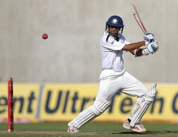 India's Dravid hits a shot against the West Indies in Kingston